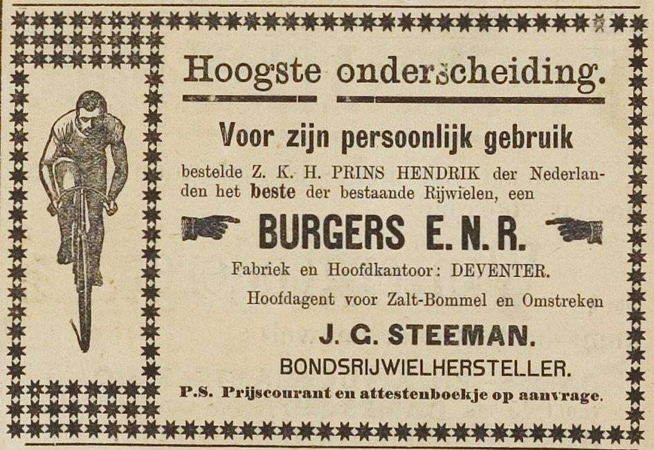 Advertentie Burgers. 1908 zaltbommelse cour. 26:09:08