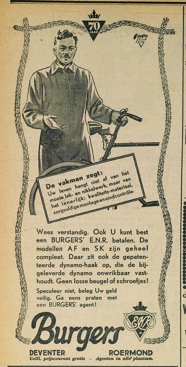 Advertentie Burgers. middelburgse courant 1939-05-12