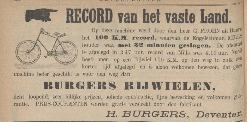 Advertentie Burgers. kampioen 2 sept 1892