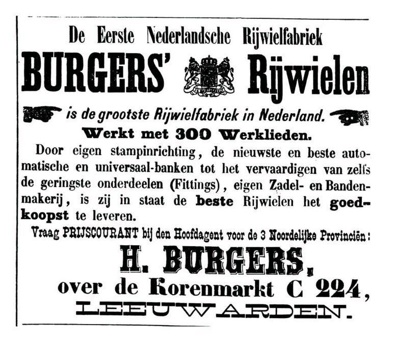 Advertentie Burgers. Leeuwarder Courant 19-04-1898