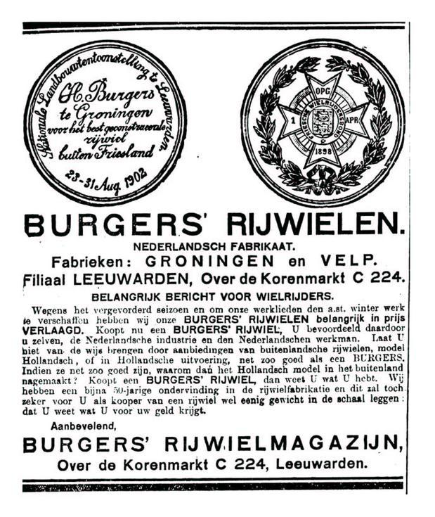 Advertentie burgers. leeuw cour. 27-09-1922