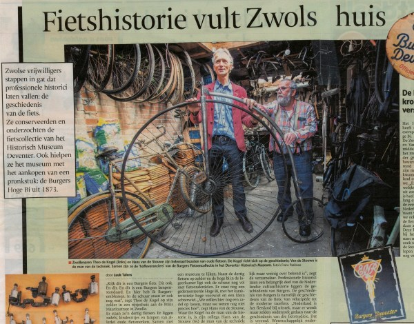 Artikel in de Stentor over fietshobby