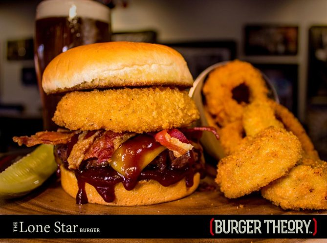 Burger Theory Phoenix: LONE STAR - Cheddar cheese • thick-cut bacon • Parmesan-panko onion ring • BBQ sauce -- Option: Single Patty or Double