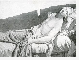 Tardieu, La Mort de Lepeltier, gravure d'après le tableau disparu de David.