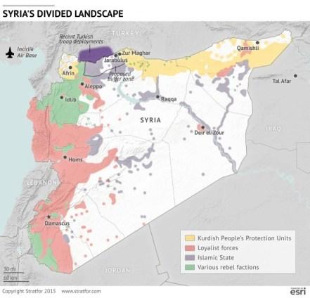 Mapa de Siria en guerra