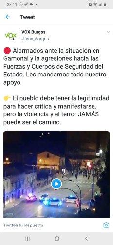 Tuit borrado de la Cuenta de @Vox_Burgos
