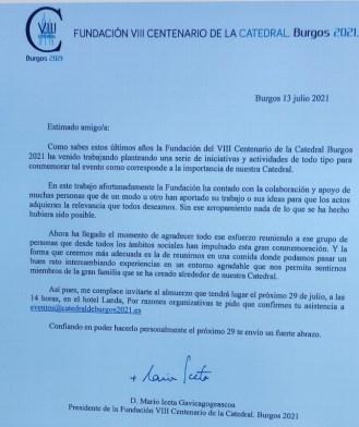 carta invitación al banquete del arzobispo