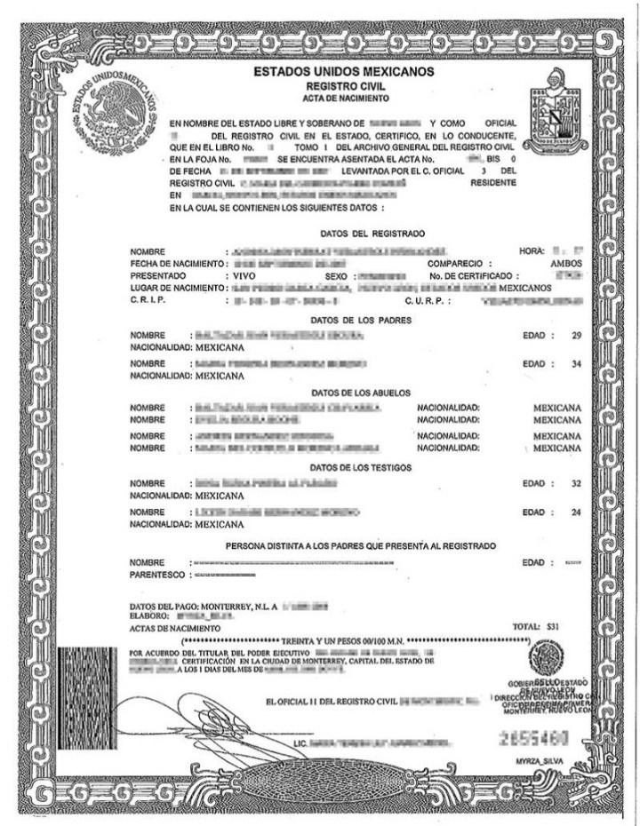 Lujoso Certificado De Nacimiento Immihelp Galería - Cómo conseguir ...