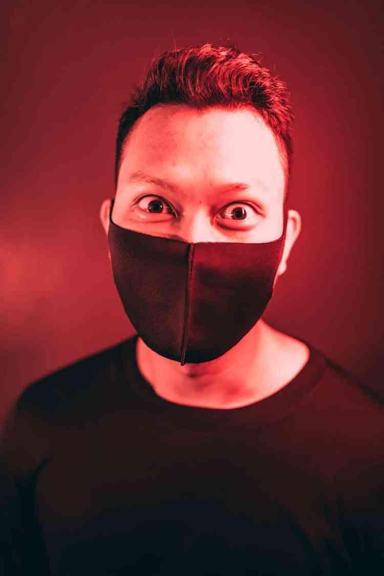 man in black medical mask