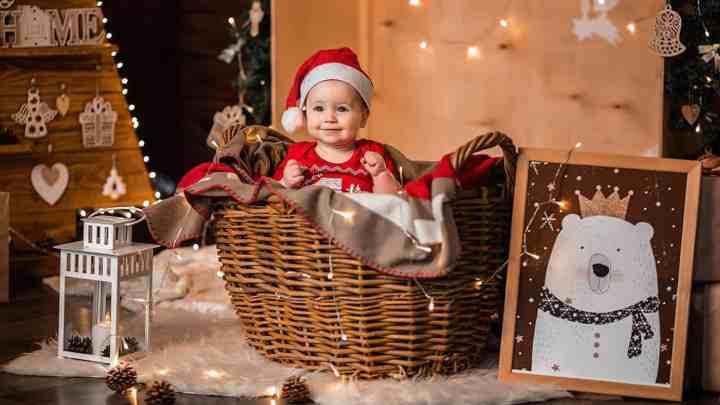 cute baby in christmas costume in studio