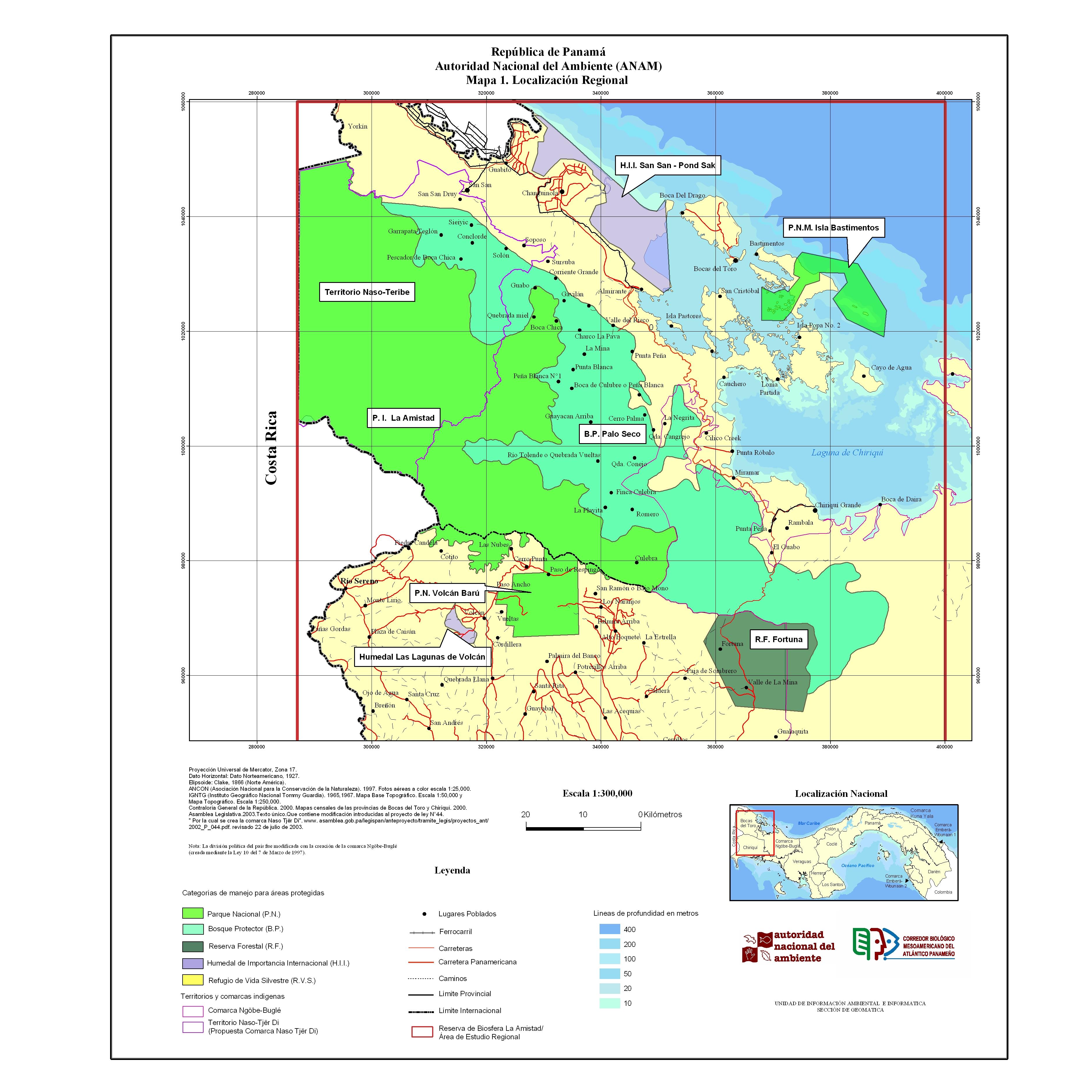 Mapa de las áreas protegidas y áreas indigenas que comprenden la Reserva de la Biósfera La Amistad Panamá