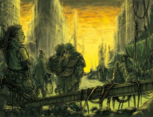 An image of a crumbling city, with survivors gathered in the rubble to stare up at the yellow-green sky.