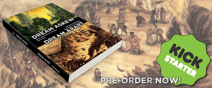 "A mock-up of the future book, over a picture of a bustling shtetl market. It reads ""pre-order now!"" with a Kickstarter logo."