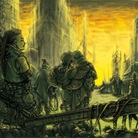 Queer people stand in a green and yellow light in a ruined city.