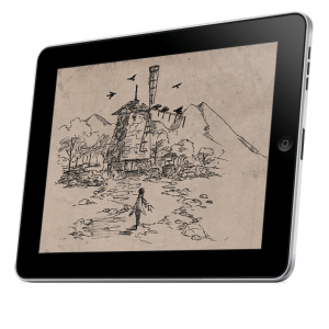 A mockup of a tablet displaying the PDF cover of The Quiet Year.