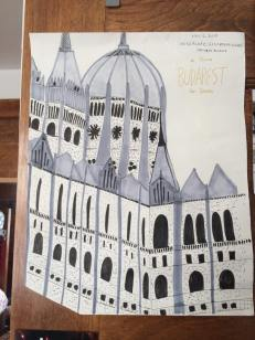 Parliament Building at Budapest- marker on paper