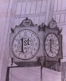 """Chicago Clock: 6"""" x 8"""", pencil on paper"""