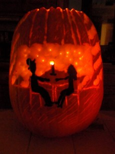 Romantic Candlelit Pumpkin: paint and carving on pumpkin