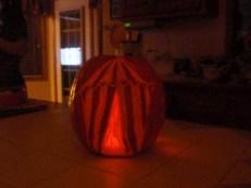 Benzini Brothers Pumpkin: circus tent on pumpkin