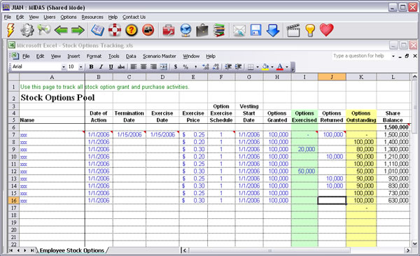 Employee incentive stock options plan software worksheet