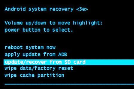 """Aperçu du """"Mode Recovery"""" sur Android, l'écran en anglais."""