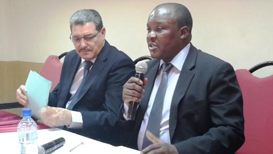 Des officiels à la formation, à gauche, le représentant de l'ambassade du Maroc, Mohamed Aberghaz
