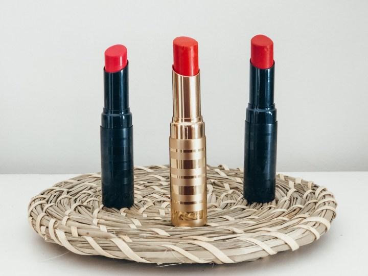 three red beautycounter lipstick
