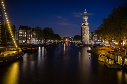 Night view of Oudeschans, Amsterdam, Netherlands