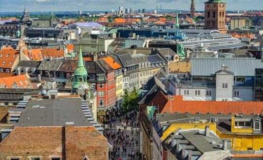 View from Round Tower over Købmagergade, Copenhagen