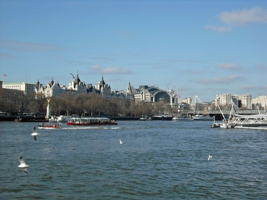 Victoria Embankment and Charing Cross from across the river