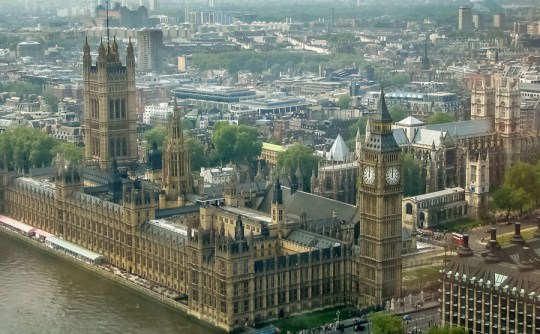 View of Westminster Palace and Abbey from London Eye, London