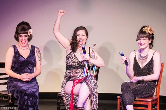 Elsa Von Schmaltz, Heidi Von Haught, Flirty Sanchez onstage at Seattle Burlesque Show Decadence – A Raunchy Retrospective of Ten Years in Tease