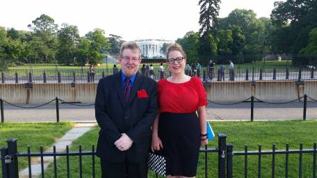 Ben Harris (left), Ilsa Spaan (Right) outside the White House