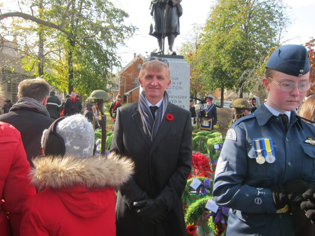 BCA President Derek Hebb places a wreath at the cenotaph, Nov. 11th, 2017