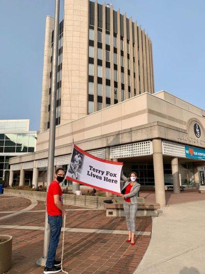 Fox flag - city hall backdrop