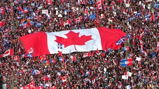 Canadian flag at Quebec referendum