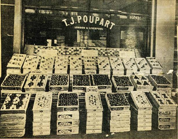 Local fruit sold in England ca 1922