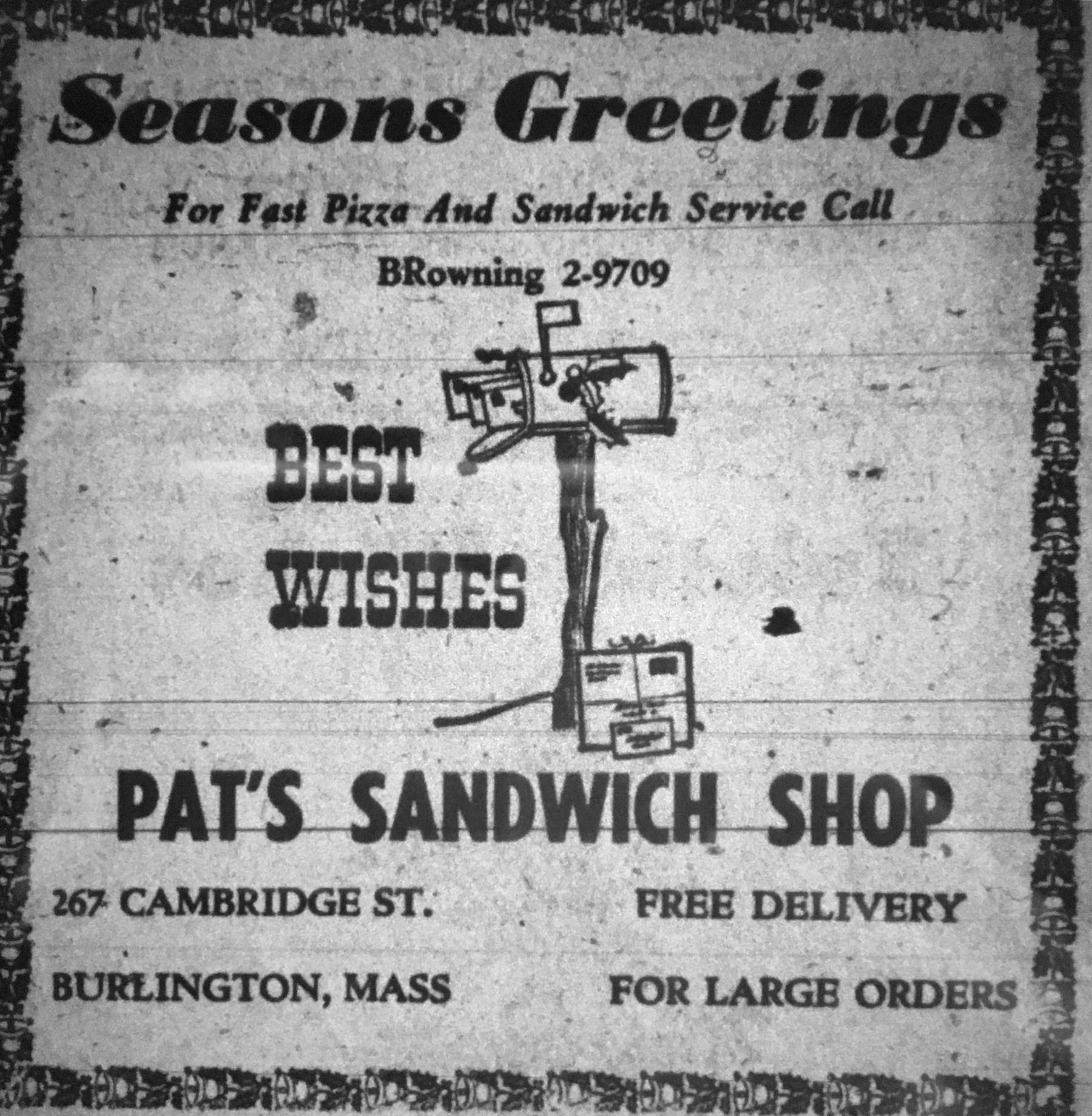 Pat's Sandwich Shop, Burlington MA