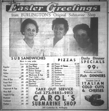 Carol's Sub Shop, Burlington, MA