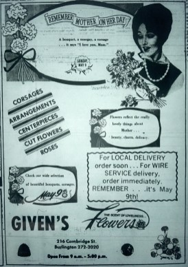 Given's florist, Burlington MA