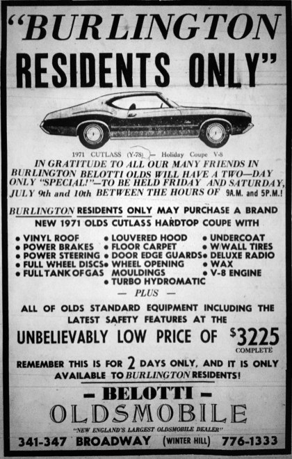 Vintage Oldsmobile ad, Burlington, MA