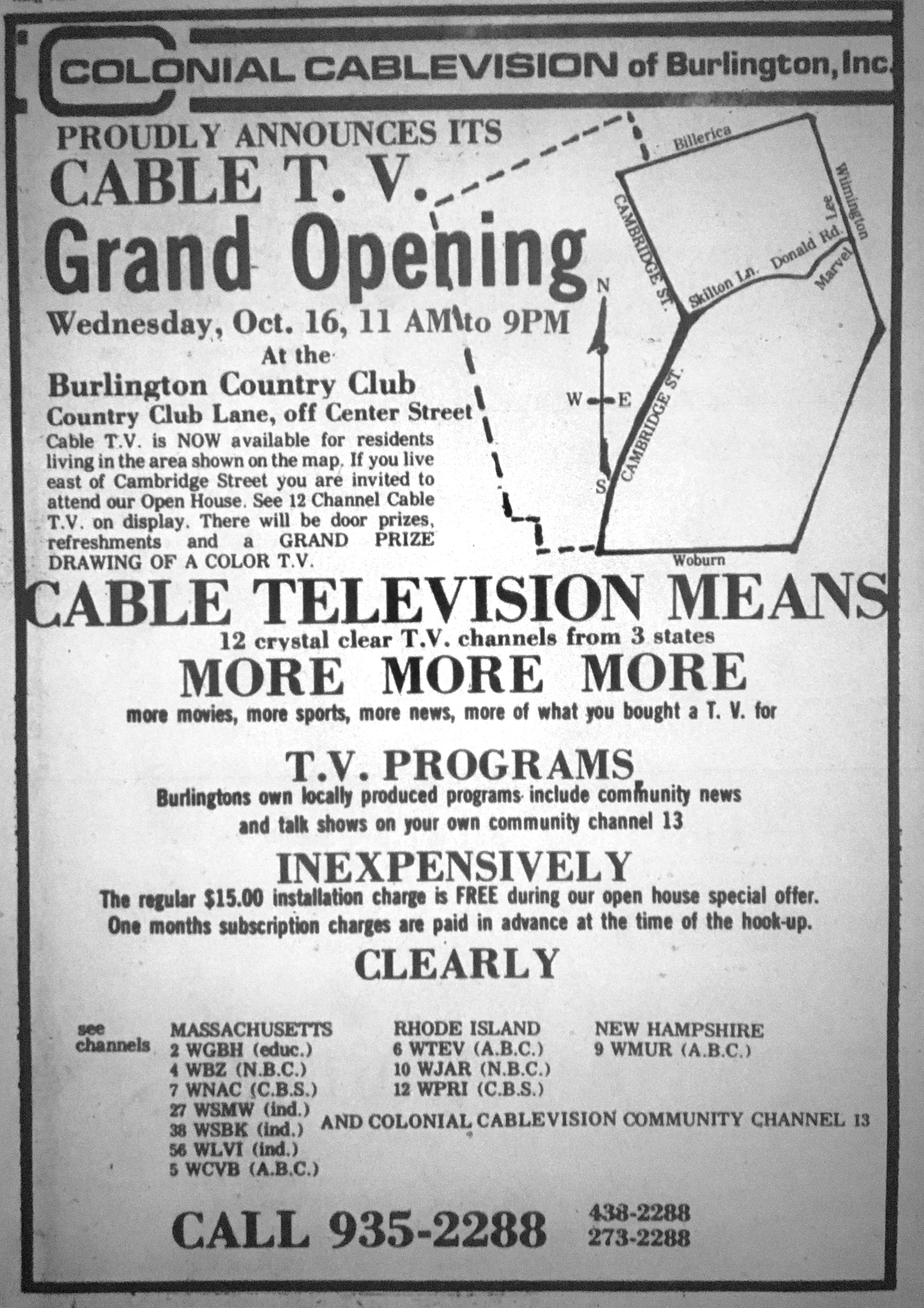 Cable TV introduction in Burlington MA