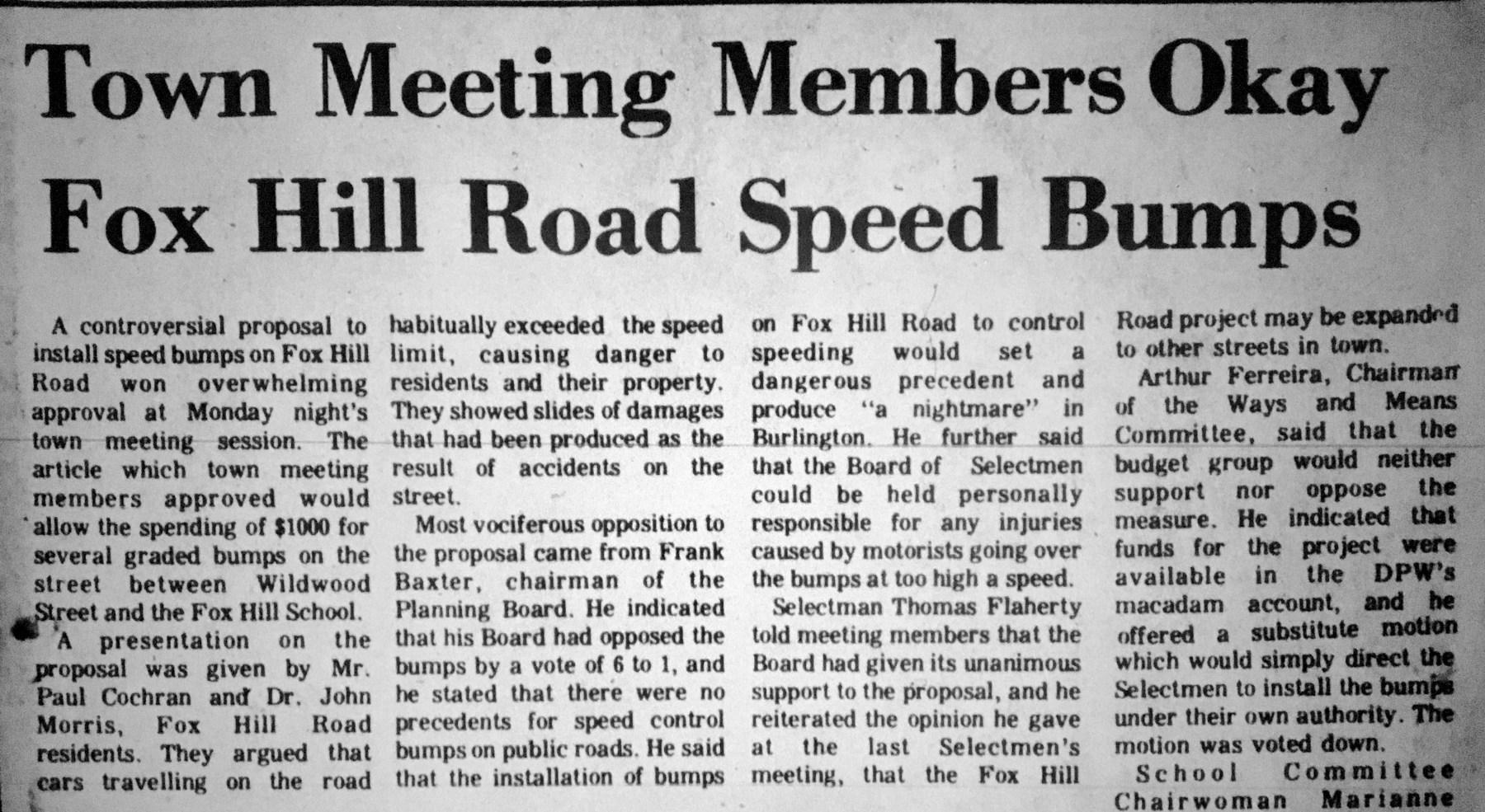 Fox Hill speed bumps, Burlington MA