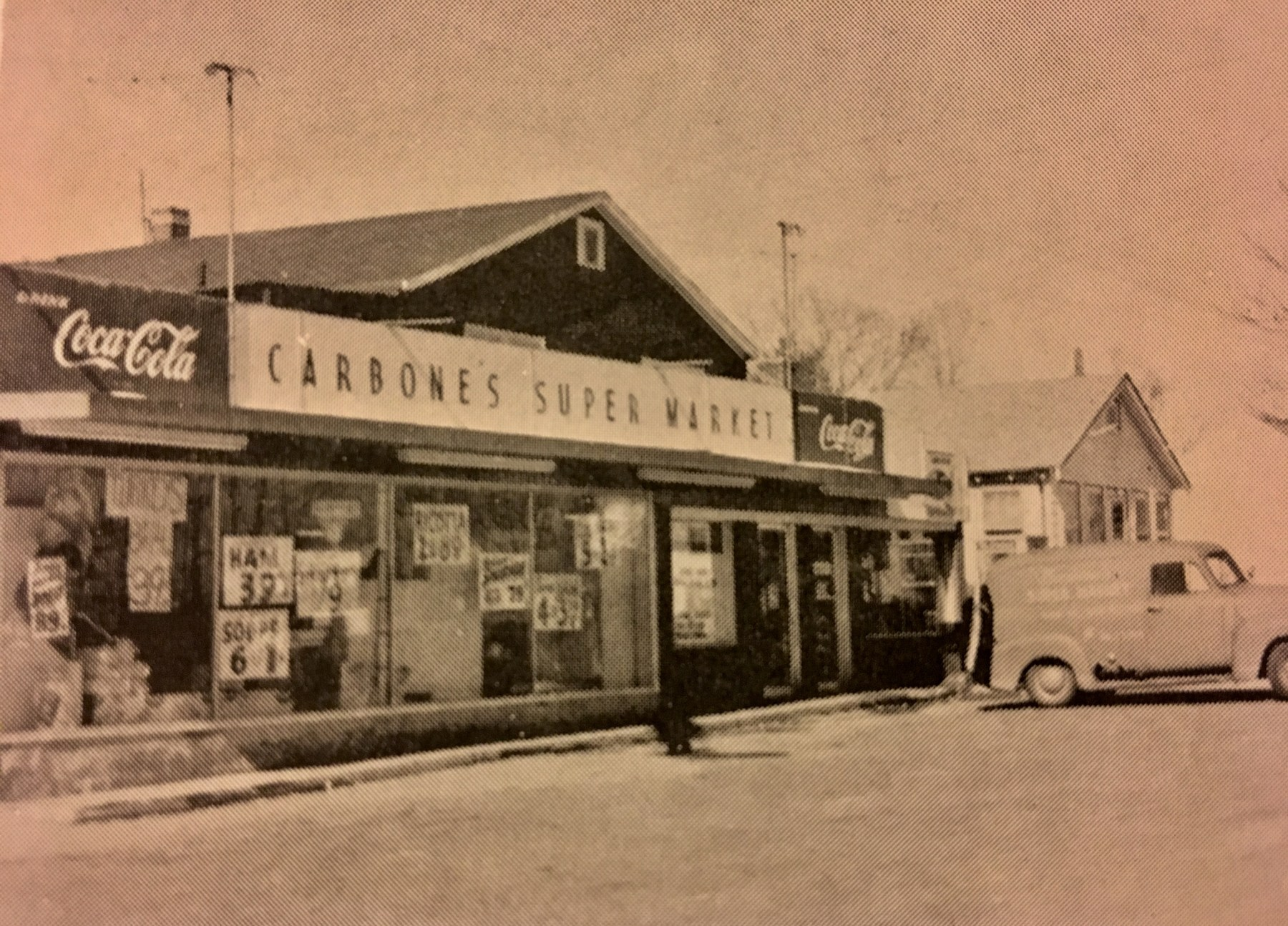 Carbone's Super Market, Burlington, late 1950s