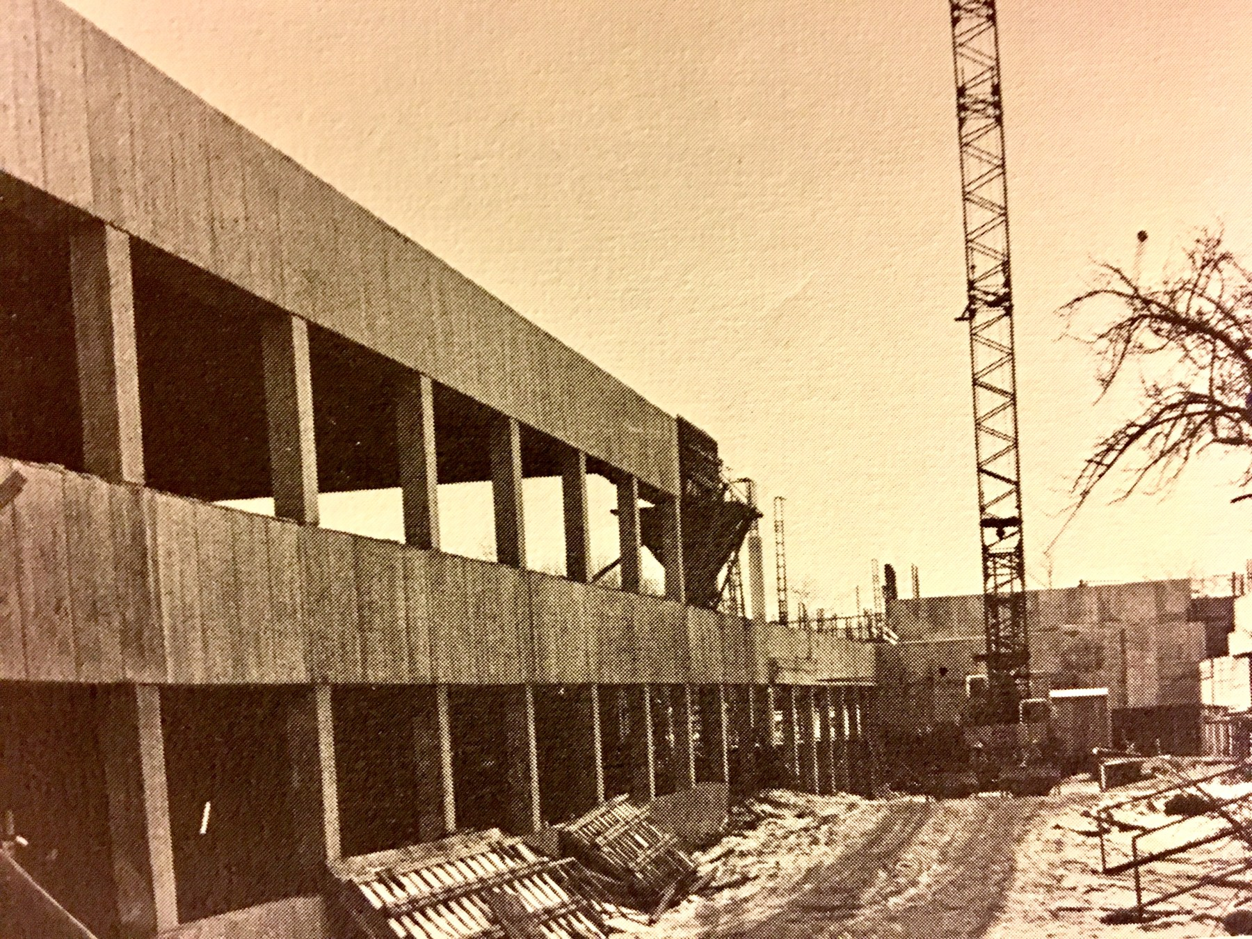 Burlington High School during construction, 1971