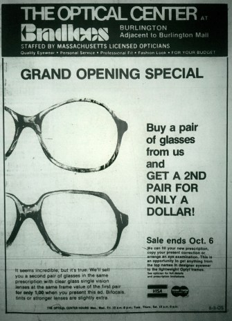 Bradlees optical center, Burlington MA