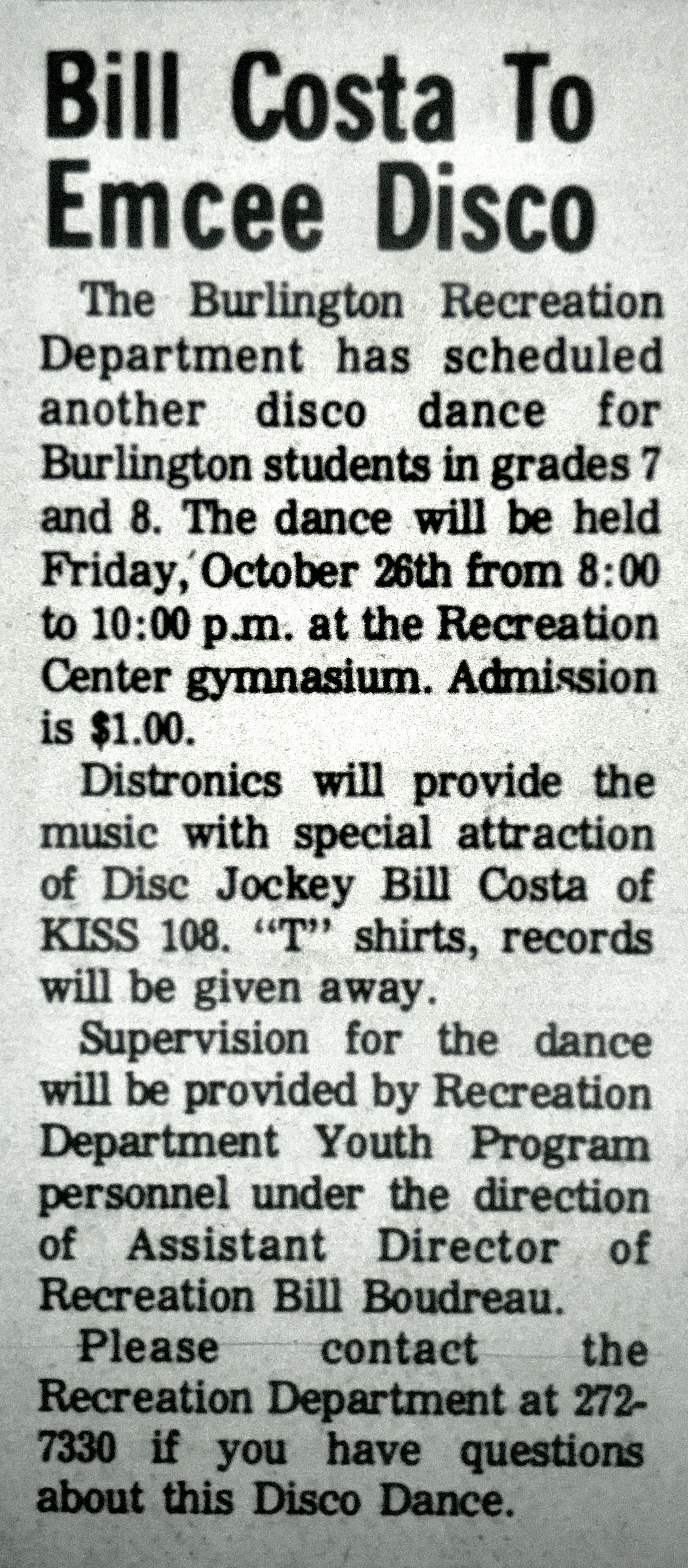 Burlington MA disco dance 1980
