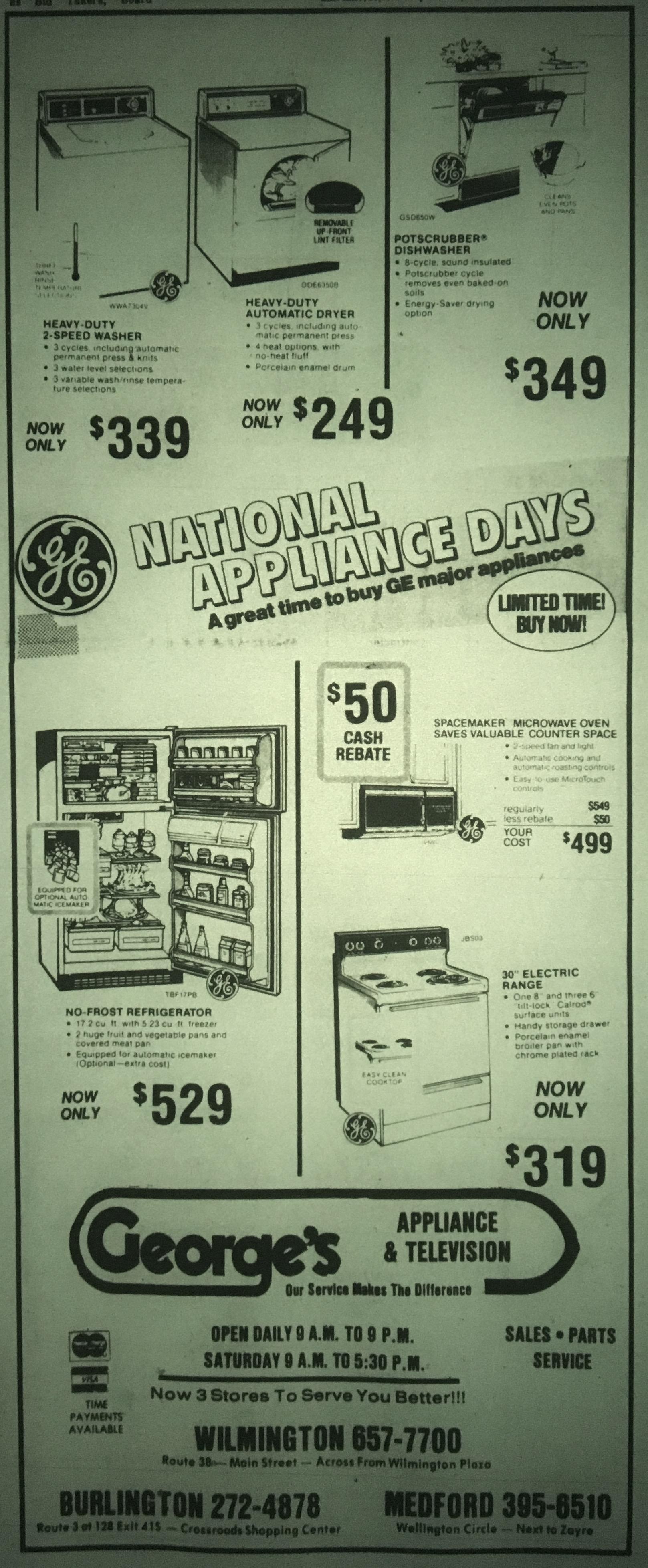 George's Appliance & Television, Burlington MA