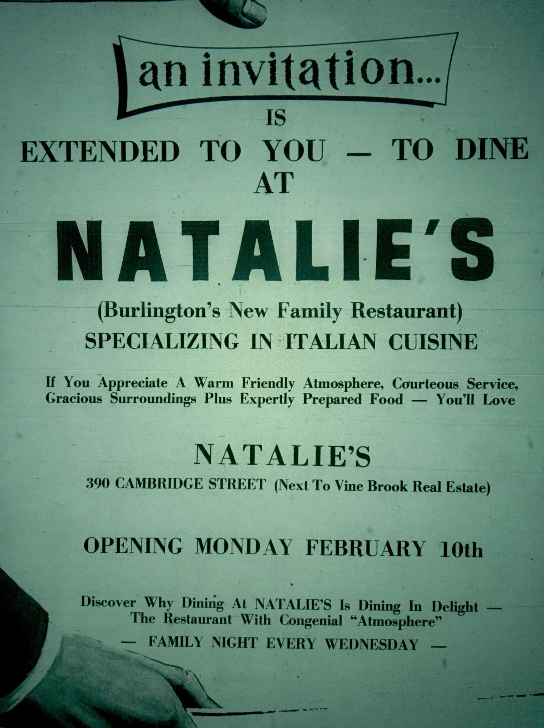 Natalie's family restaurant, Burlington MA