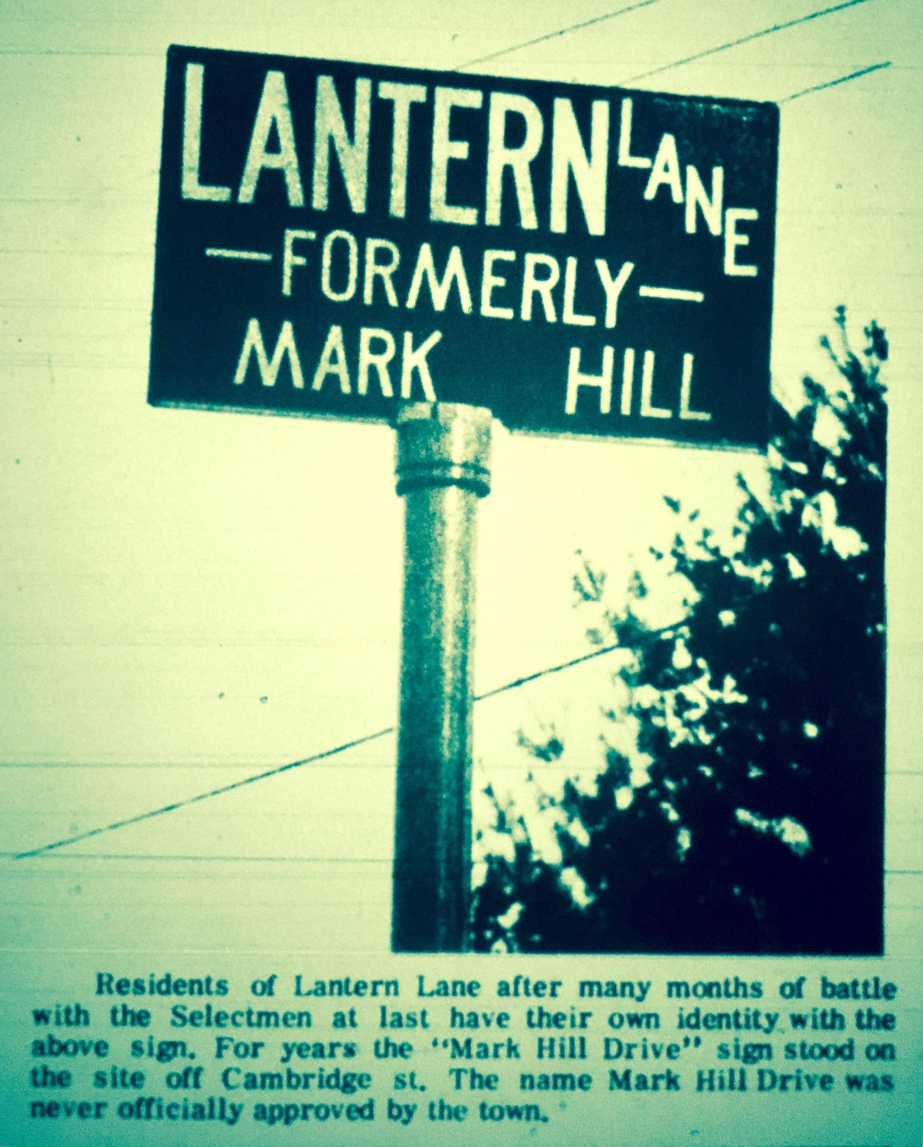 Lantern Lane/Mark Hill subdivision sign, Burlington MA 1966